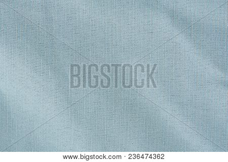 Bright Blue Fabric Texture Background. Soft White Tablecloth Texture
