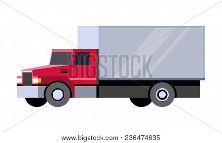 Minimalistic Icon Box Truck Front Side View. Cube Vehicle. Vector Isolated Illustration.
