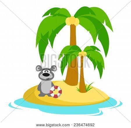 Bear On The Island. Bathing. Summer. Sea Vacation Vector Illustration