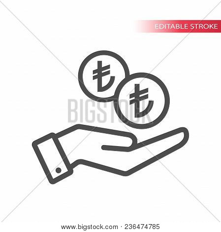 Outline Flat Icon Of Turkish Lira Coins Falling In Hand. Hand And Coins Dropping Web Pictograph. Tur