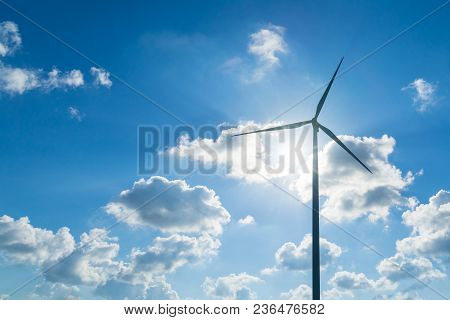 Wind Generators Turbines With Blue Sky Background