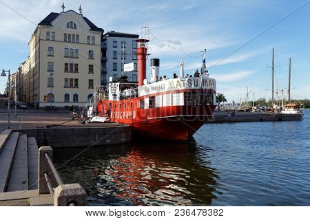 HELSINKI, FINLAND - JULY 15, 2017: Cafe on the retro lightship Relandersgrund at the North Beach. The ship was built in 1886-1888, but since 1990s used as cafe