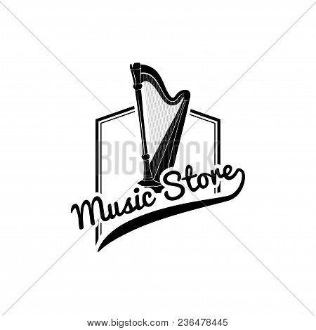 Harp Icon. Music Store Logo Label Emblem. Musical Instrument. Vector Illustration