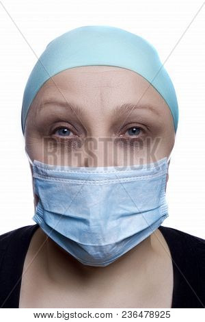 Woman Doctor In Surgical Mask On White Background