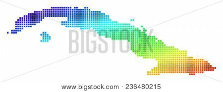 Spectrum Dotted Pixel Cuba Map. Vector Geographic Map In Bright Colors On A White Background. Spectr