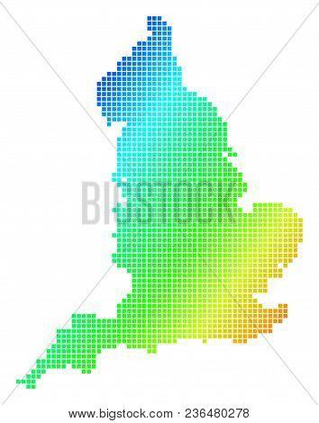 Spectrum Dotted Pixelated England Map. Vector Geographic Map In Bright Colors On A White Background.