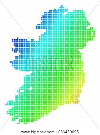 Spectrum Dotted Pixelated Ireland Map. Vector Geographic Map In Bright Colors On A White Background.