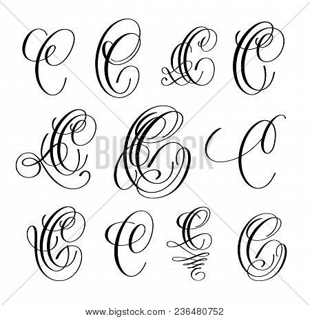 Calligraphy Lettering Script Font C Set, Hand Written Signature Letter Design, Vector Illustration