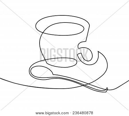 Continuous One Line Drawing - A Cup Of Coffee With A Teaspoon In Modern Minimalistic Style, Vector I