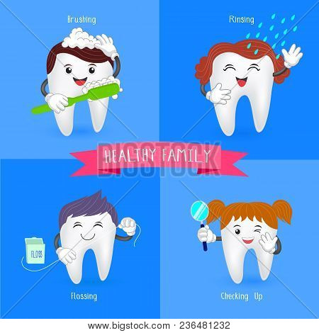 Oral Hygiene Banners With Cute Tooth.  Brushing, Flossing,  Rinsing And Check Up.  Illustration.