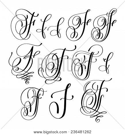 Calligraphy Lettering Script Font F Set, Hand Written Signature Letter Design, Vector Illustration