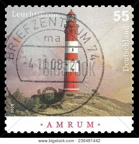 Germany - Circa 2008: Stamp Printed By Germany, Color Edition On Towers, Shows Lighthouse Amrum Buil