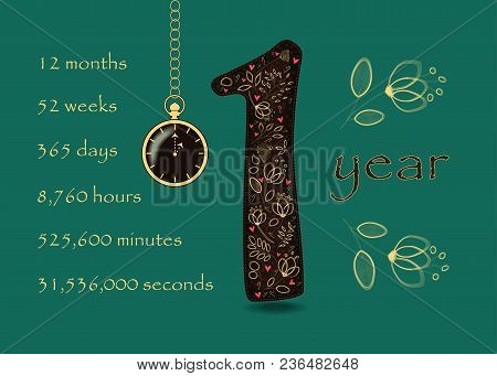 Floral Card With Number One And Pocket Watch