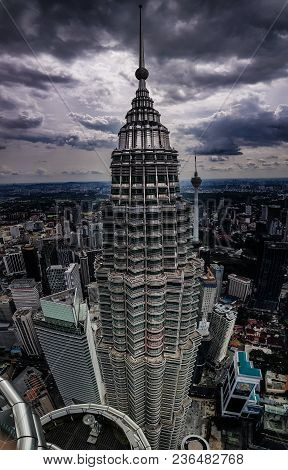 Kuala Lampur, Malaysia - November 2017. One Of The Petronas Twin Towers Photographed From Above, The