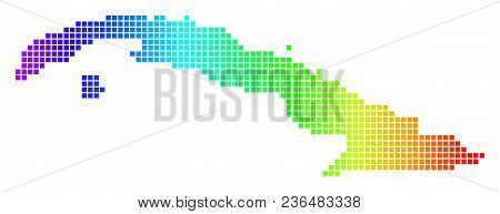 Dot Spectrum Pixel Cuba Map. Vector Geographic Map In Bright Colors On A White Background. Spectrum