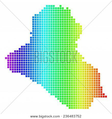 Dot Spectrum Pixel Iraq Map. Vector Geographic Map In Bright Colors On A White Background. Spectrum