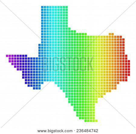 Spectrum Dotted Pixelated Texas Map. Vector Geographic Map In Bright Colors On A White Background. S