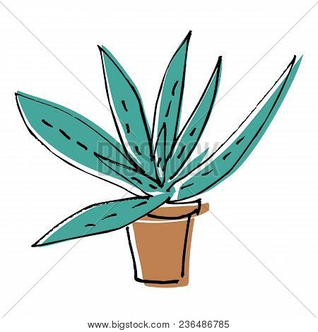Sketch Doodle Home Green Aloe In Brown Pot, Flat Cartoon Colors, Stock Vector Illustration