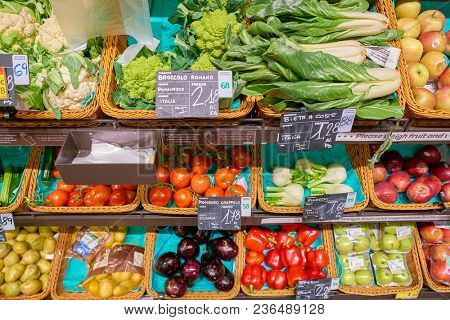 ROME, ITALY - CIRCA NOVEMBER 2017: food on display at Carrefour Express store in Rome. Carrefour Express is a convenience store chain owned and operated by French retailer Carrefour.