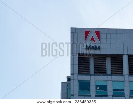 San Jose, Ca - April 14, 2018: Adobe Systems, Photoshop Maker, Logo On Headquarters Skyscraper Tower