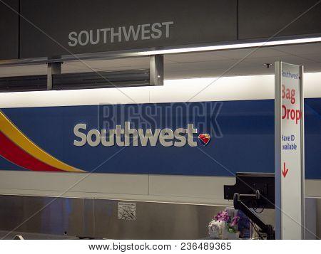 San Jose, Ca - April 14, 2018: Southwest Airlines Baggage Check Kiosk At San Francisco International