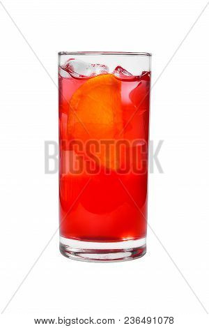 A Single-colored Transparent Cocktail, Refreshing In A Tall Glass With Ice Cubes, Orange Slice, Lemo