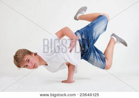 Strong Teen B-boy Standing In Freeze