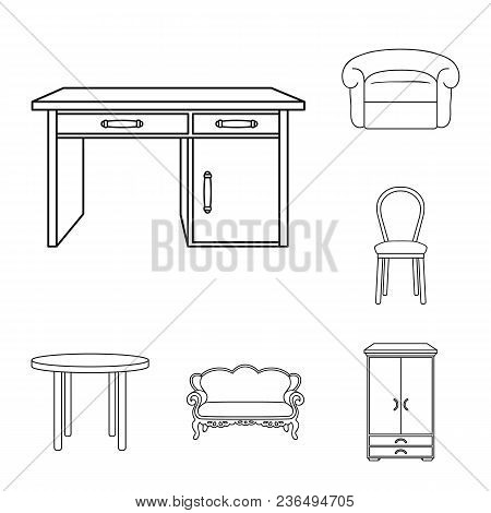 Furniture And Interior Outline Icons In Set Collection For Design.home Furniture Vector Symbol Stock