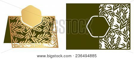 Laser Cut Ornamental Vector Template With Floral Pattern. Freestanding Table Number, Name, Place, We