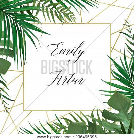 Wedding Vector Art Floral Invite Invitation Card Design With Watercolor Style Tropical Forest Palm T