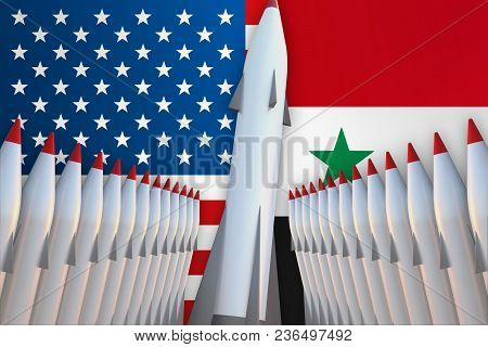 Missiles Of Usa And Syria In A Row And Their Flags On Background - 3d Rendered Illustration