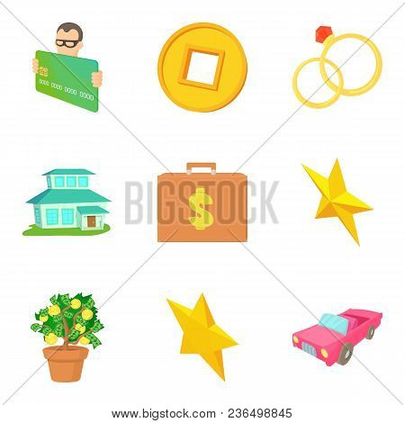 Monetary Terms Icons Set. Cartoon Set Of 9 Monetary Terms Vector Icons For Web Isolated On White Bac