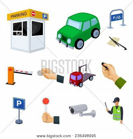 Parking For Cars Cartoon Icons In Set Collection For Design. Equipment And Service Vector Symbol Sto