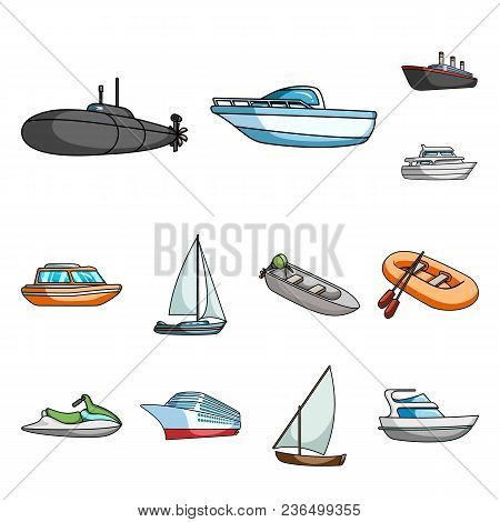 Water And Sea Transport Cartoon Icons In Set Collection For Design. A Variety Of Boats And Ships Vec