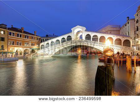 Italy - Rialto Bridge At A Night, Venice