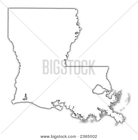 Louisiana (USA) outline map with shadow. Detailed Mercator projection. poster
