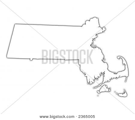Massachusetts (Usa) Outline Map With Shadow