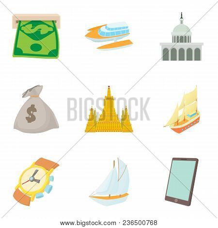 Cash Equivalent Icons Set. Cartoon Set Of 9 Cash Equivalent Vector Icons For Web Isolated On White B