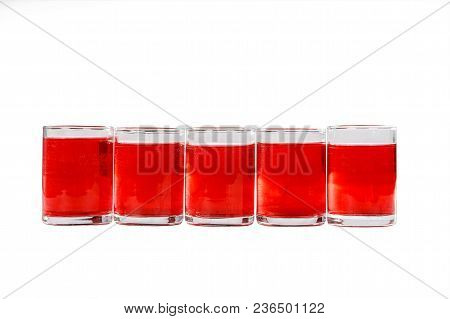 Monochrome Transparent Cocktails, A Set Of Shots In One Row, Five Servings, With Taste Of Berries, C