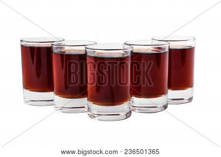 Monochrome Transparent Cocktails, A Set Of Shots Pile, Wedge, Five Servings, With A Taste Of Berries