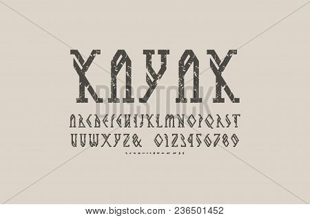 Decorative Geometric Slab Serif Font. Bold Face. Letters And Numbers With Rough Texture For Camping