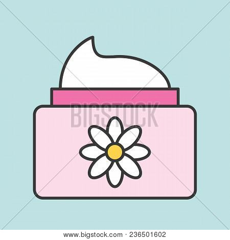 Floral Cosmetic Lotion Jar Icon, Filled Outline Icon