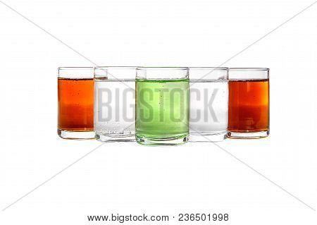 Multicolored Transparent Cocktails, A Set Of Shots In A Heap, A Wedge, Five Servings. Side View Isol