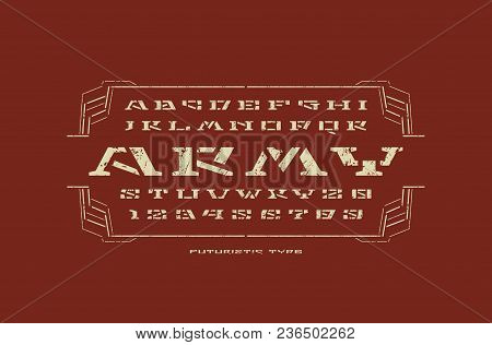Geometric Stencil-plate Serif Font In Military Style. Letters And Numbers With Rust Texture For Sci-