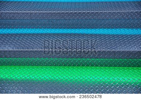 Green Blue Metal Texture Of The Steps Of The Ladder With Backlight