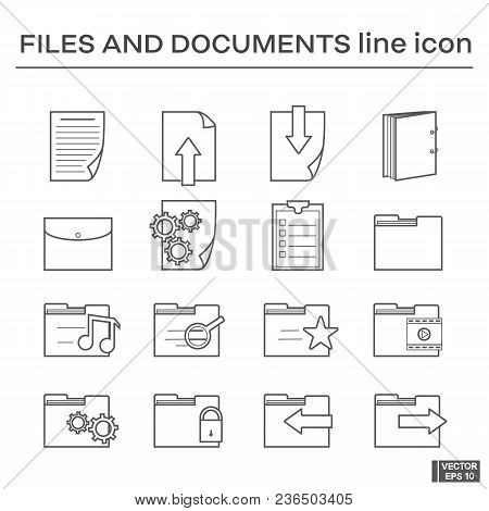Vector Image. Set Of Line Icons On The Theme Of Files And Document. Black And White Outline Sign.