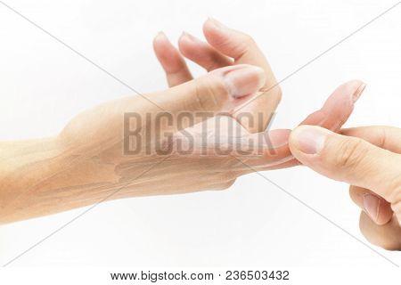 Finger Muscle Pain White Background Finger Injury