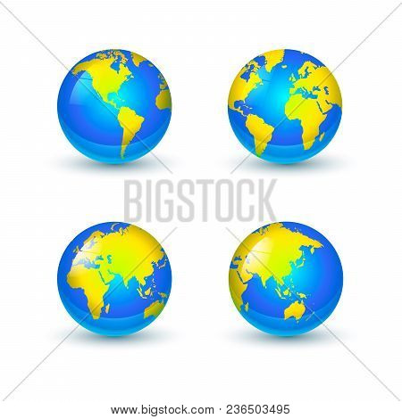 Bright Glossy Earth Globes Icons From Different Sides Isolated On White Background