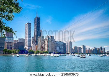 Chicago Downtown Skyline And The Blue Sky