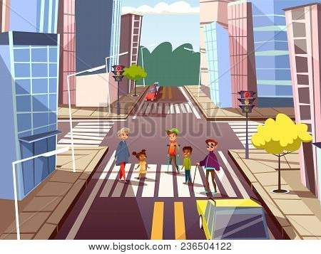 Vector Cartoon People On Pedestrian Crossing Road On City Downtown Urban Cityscape Background. Illus